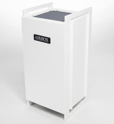 White AIRBOX Peak S Air Purifier stand alone cabinet home air filtration system